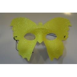 Masque papillon jaune luxe