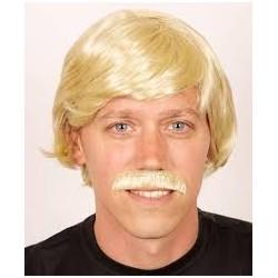 Perruque blonde + moustache