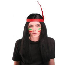 Perruque indien + plume
