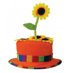 Chapeau fleur orange de clown