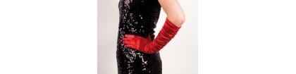 Long gant rouge