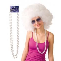sautoir perles blanc