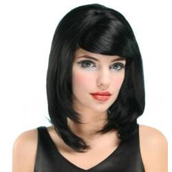 Perruque noir longue lisse