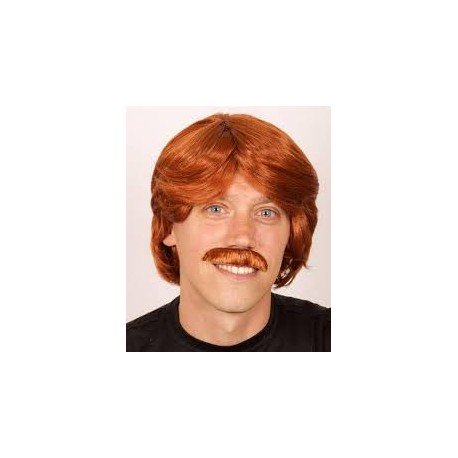 Perruque rousse + moustache