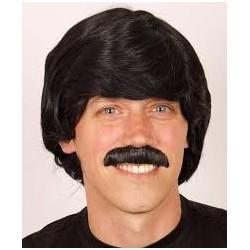 Perruque noir + moustache