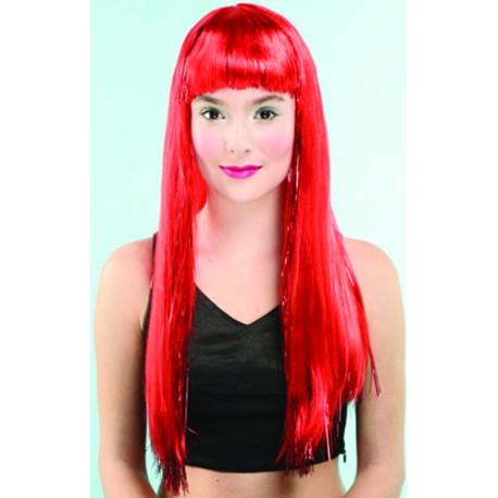 Perruque rouge avec franche