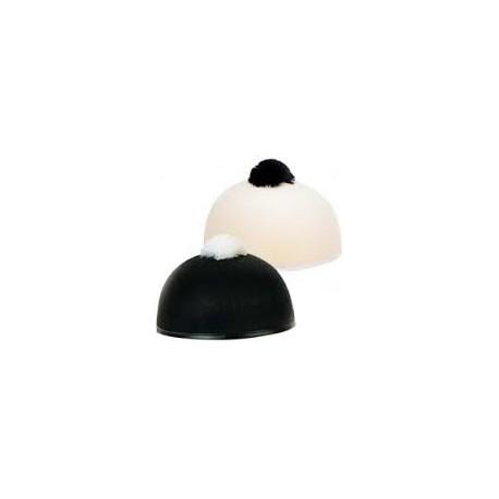 Calot de pierrot noir pompon blanc
