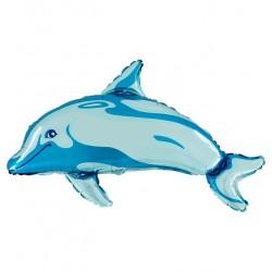 Ballon aluminium dauphin bleu
