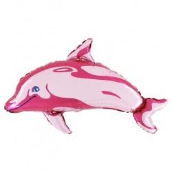 Ballon aluminium dauphin rose