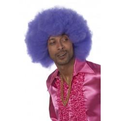 Perruque super afro bleu