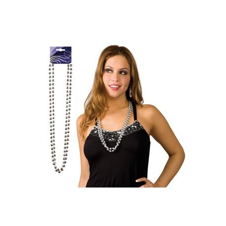 sautoir perles argenté