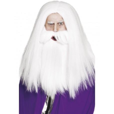 Perruque et barbe magicien