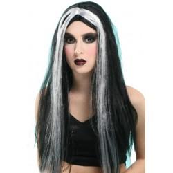 Perruque de sorcière noire et blanche