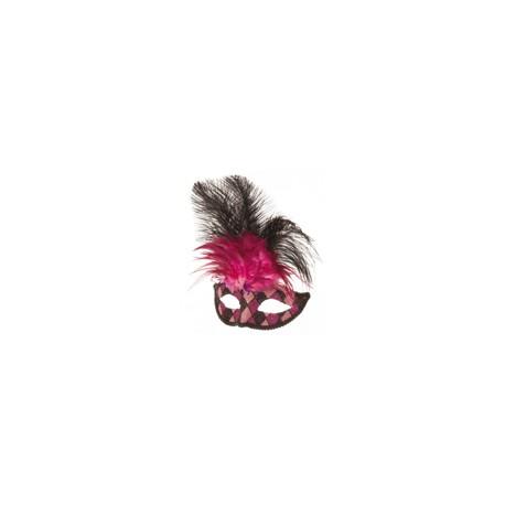 Loup venitien fuschia-rose-noir