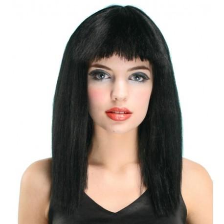 Perruque noir avec franche