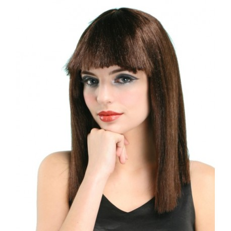 Perruque longue brune avec franche
